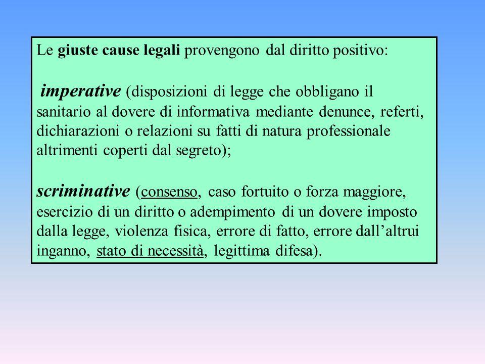 Le giuste cause legali provengono dal diritto positivo: imperative (disposizioni di legge che obbligano il sanitario al dovere di informativa mediante