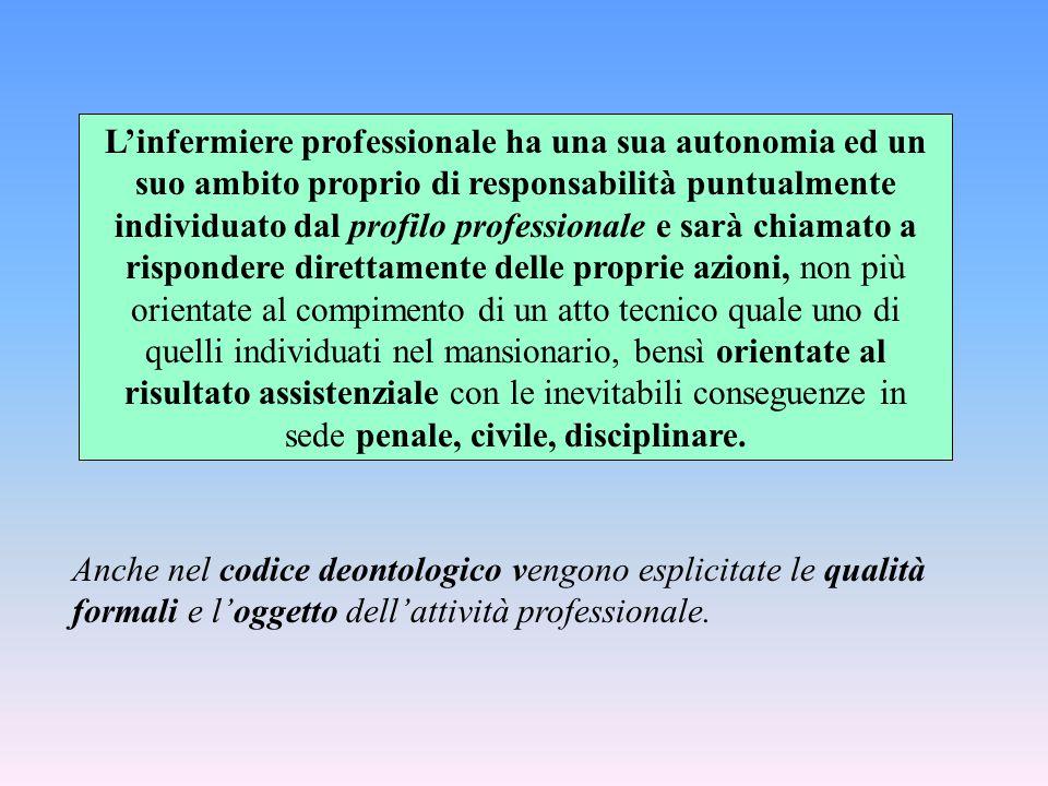 L'infermiere professionale ha una sua autonomia ed un suo ambito proprio di responsabilità puntualmente individuato dal profilo professionale e sarà c