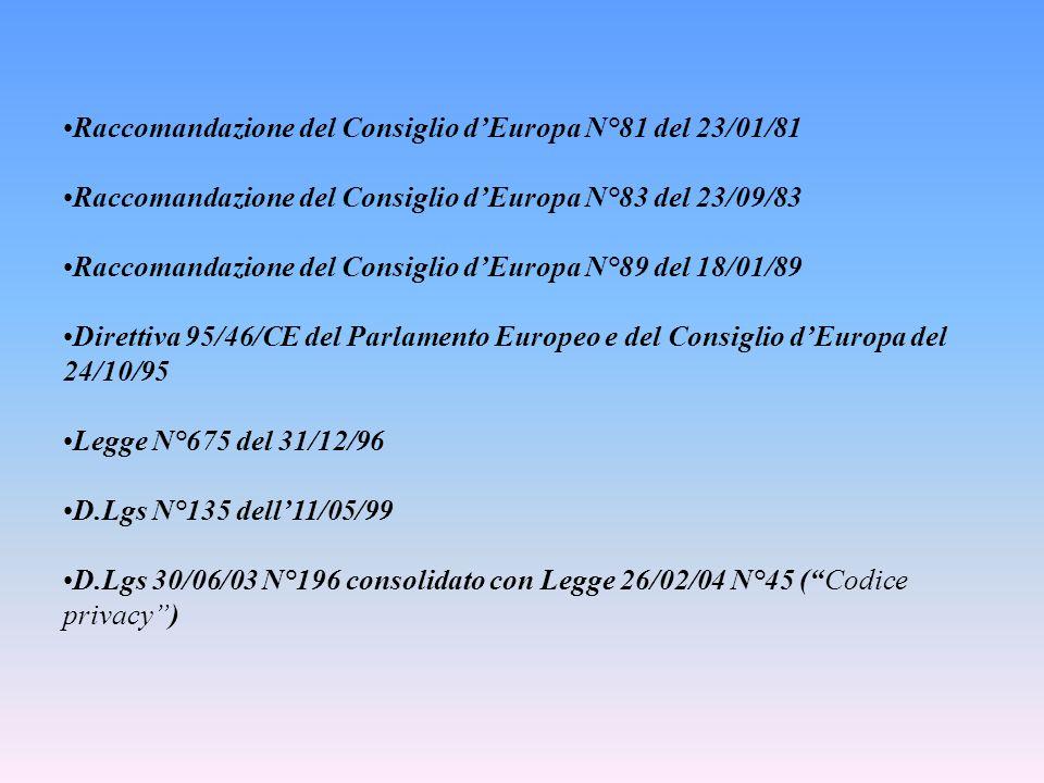 Raccomandazione del Consiglio d'Europa N°81 del 23/01/81 Raccomandazione del Consiglio d'Europa N°83 del 23/09/83 Raccomandazione del Consiglio d'Euro