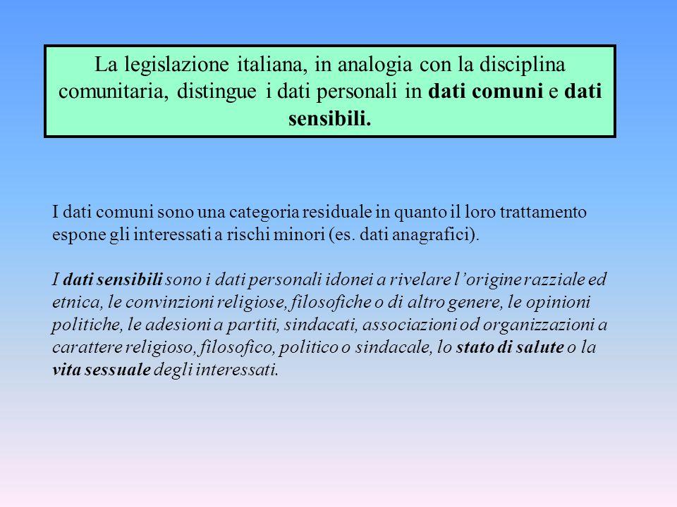 I dati comuni sono una categoria residuale in quanto il loro trattamento espone gli interessati a rischi minori (es. dati anagrafici). I dati sensibil
