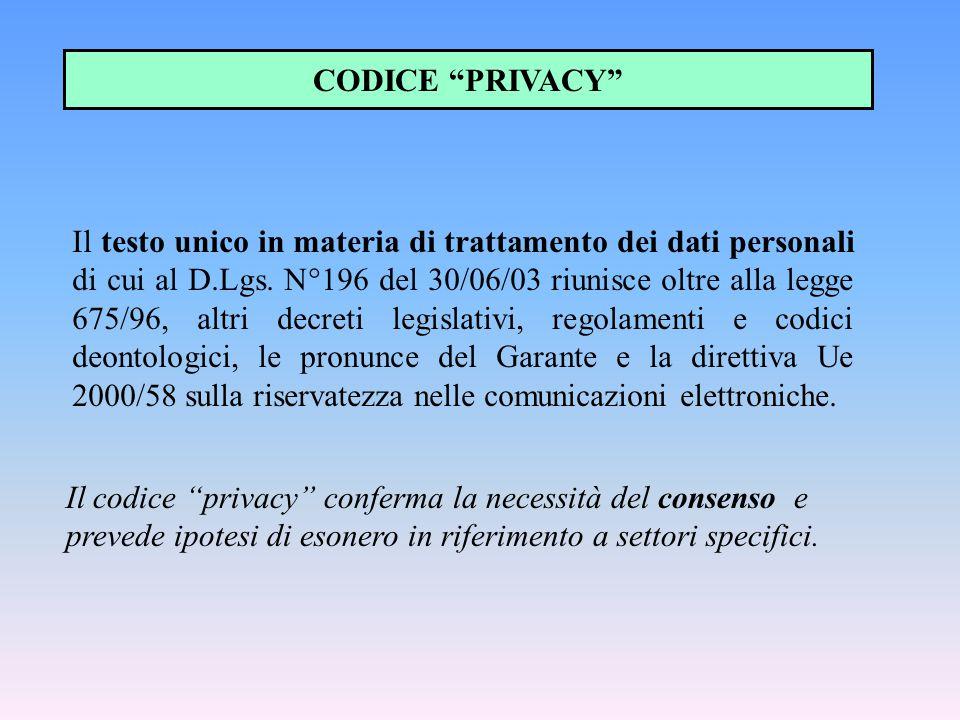 """Il codice """"privacy"""" conferma la necessità del consenso e prevede ipotesi di esonero in riferimento a settori specifici. CODICE """"PRIVACY"""" Il testo unic"""