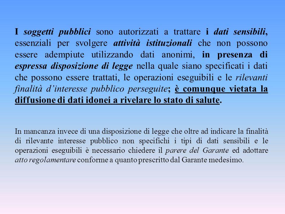 I soggetti pubblici sono autorizzati a trattare i dati sensibili, essenziali per svolgere attività istituzionali che non possono essere adempiute util