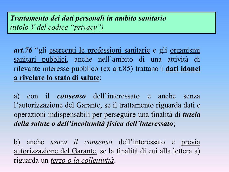 """Trattamento dei dati personali in ambito sanitario (titolo V del codice """"privacy"""") art.76 """"gli esercenti le professioni sanitarie e gli organismi sani"""