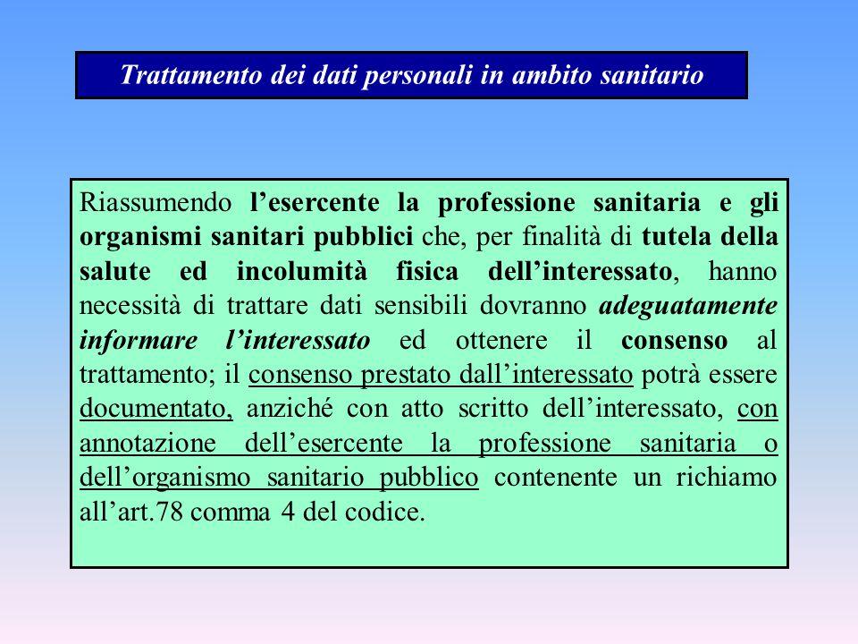 Trattamento dei dati personali in ambito sanitario Riassumendo l'esercente la professione sanitaria e gli organismi sanitari pubblici che, per finalit