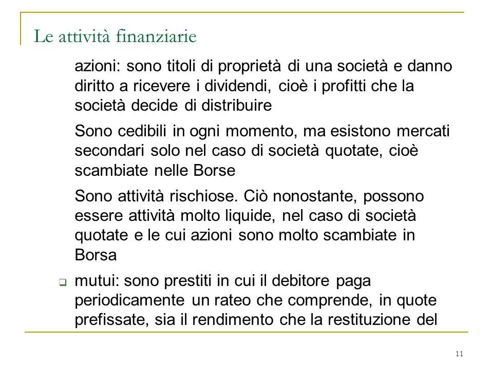 11 Le attività finanziarie azioni: sono titoli di proprietà di una società e danno diritto a ricevere i dividendi, cioè i profitti che la società deci