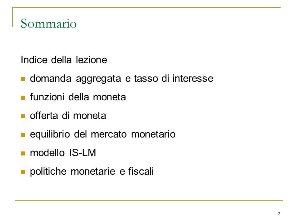 2 Sommario Indice della lezione domanda aggregata e tasso di interesse funzioni della moneta offerta di moneta equilibrio del mercato monetario modell