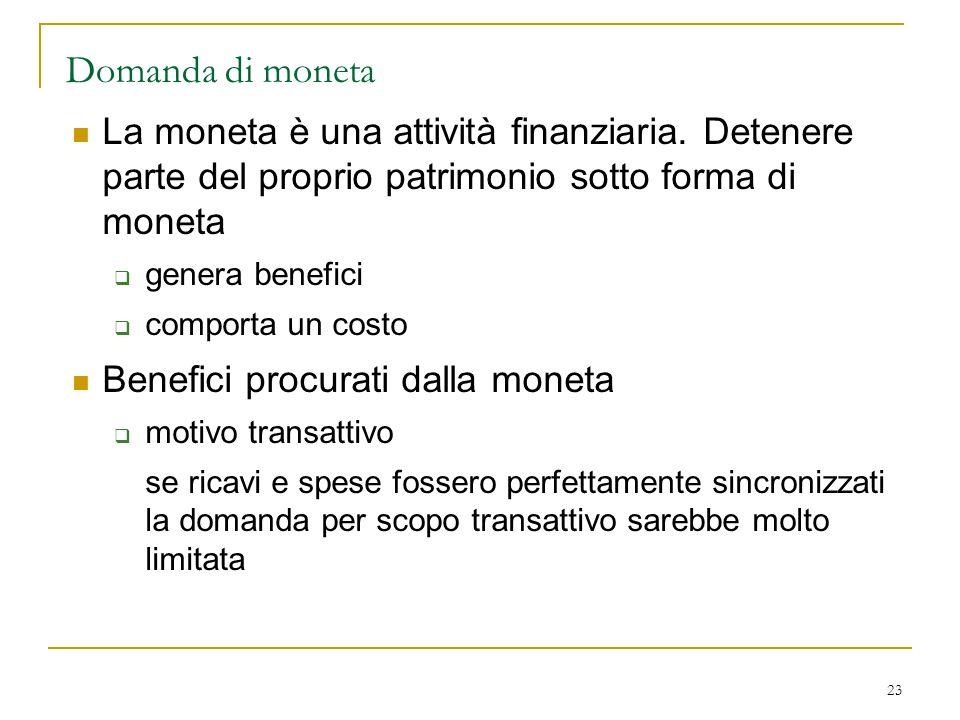 23 Domanda di moneta La moneta è una attività finanziaria. Detenere parte del proprio patrimonio sotto forma di moneta  genera benefici  comporta un