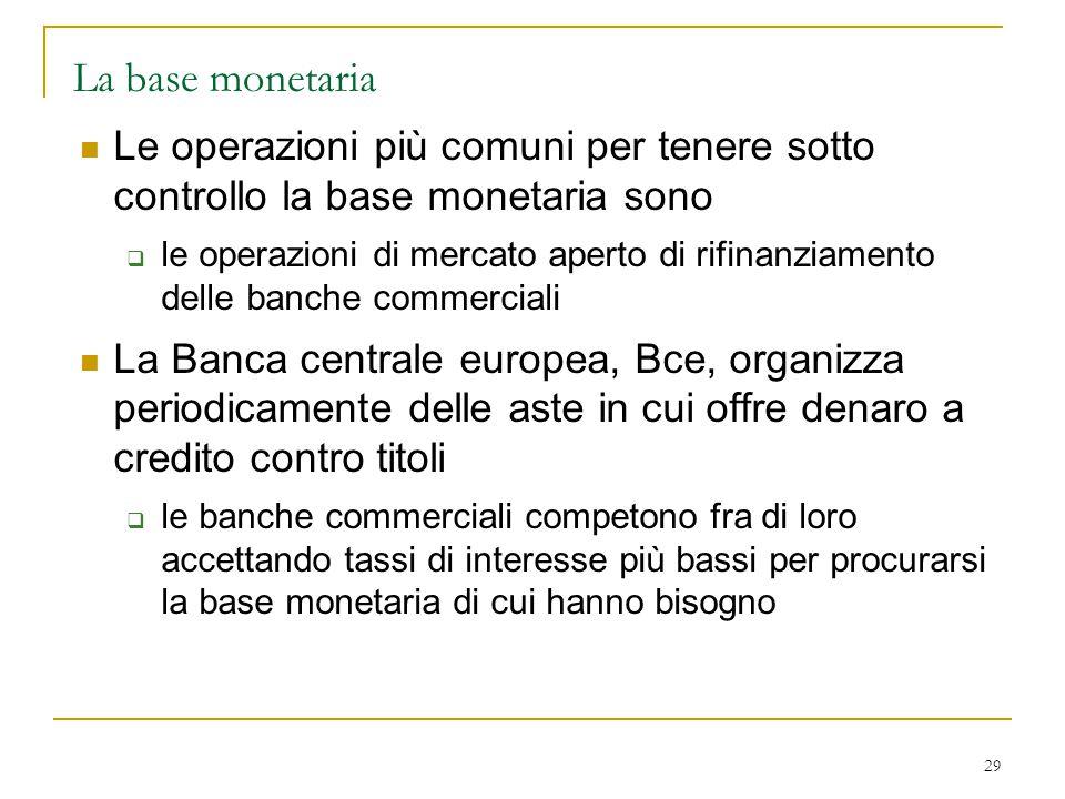 29 La base monetaria Le operazioni più comuni per tenere sotto controllo la base monetaria sono  le operazioni di mercato aperto di rifinanziamento d