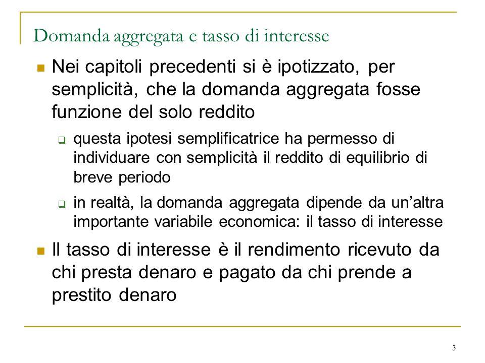 3 Domanda aggregata e tasso di interesse Nei capitoli precedenti si è ipotizzato, per semplicità, che la domanda aggregata fosse funzione del solo red