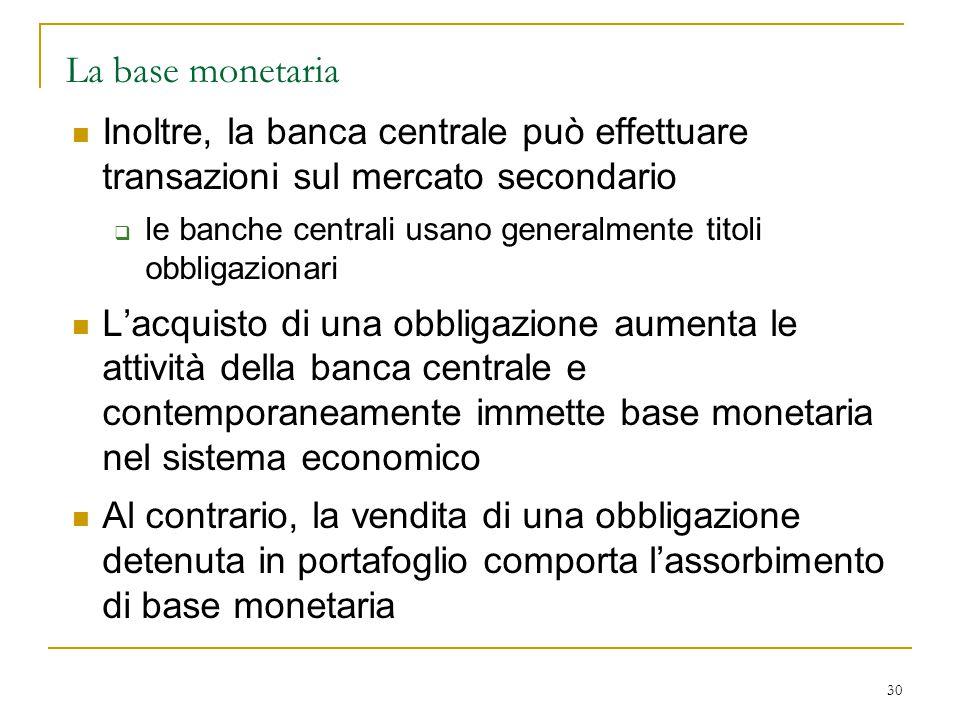 30 La base monetaria Inoltre, la banca centrale può effettuare transazioni sul mercato secondario  le banche centrali usano generalmente titoli obbli