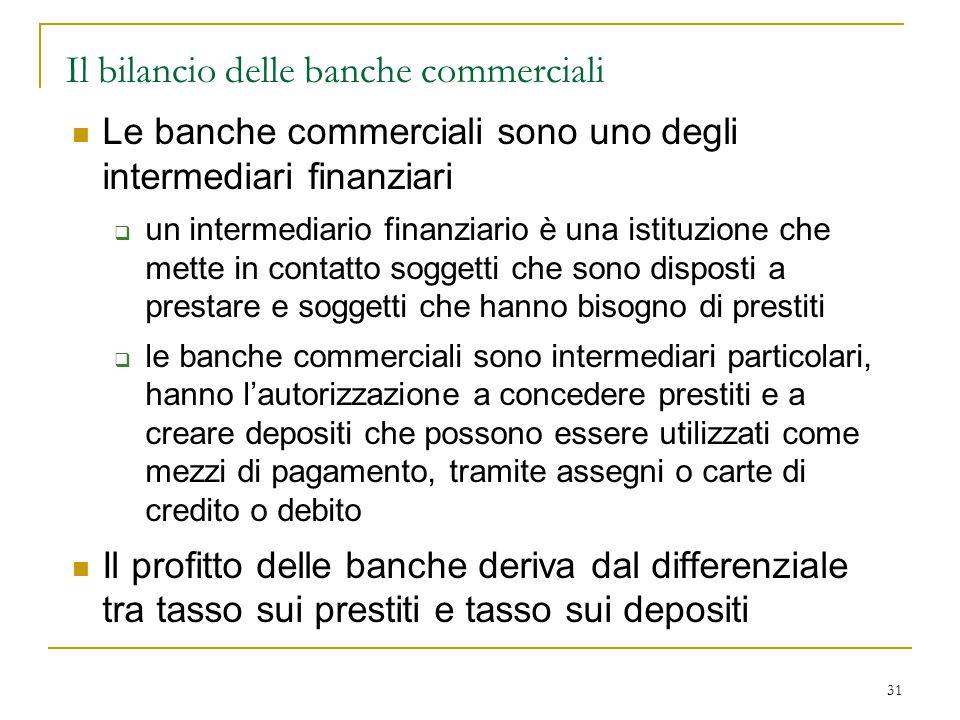 31 Il bilancio delle banche commerciali Le banche commerciali sono uno degli intermediari finanziari  un intermediario finanziario è una istituzione