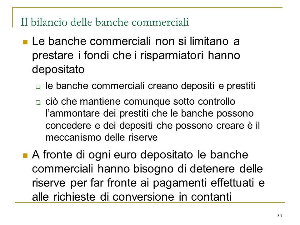 33 Il bilancio delle banche commerciali Le banche commerciali non si limitano a prestare i fondi che i risparmiatori hanno depositato  le banche comm