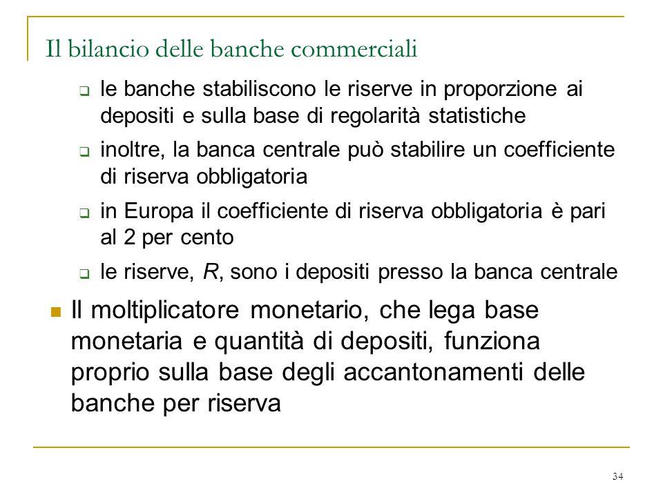 34 Il bilancio delle banche commerciali  le banche stabiliscono le riserve in proporzione ai depositi e sulla base di regolarità statistiche  inoltr