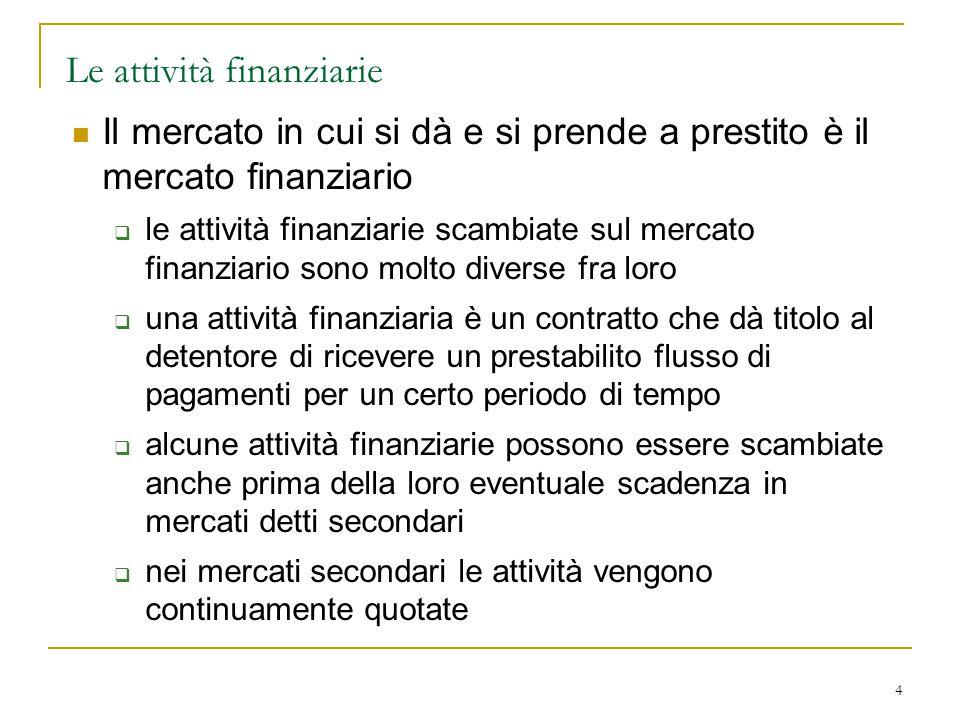 4 Le attività finanziarie Il mercato in cui si dà e si prende a prestito è il mercato finanziario  le attività finanziarie scambiate sul mercato fina
