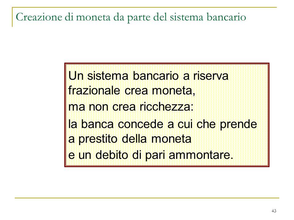 43 Creazione di moneta da parte del sistema bancario Un sistema bancario a riserva frazionale crea moneta, ma non crea ricchezza: la banca concede a c