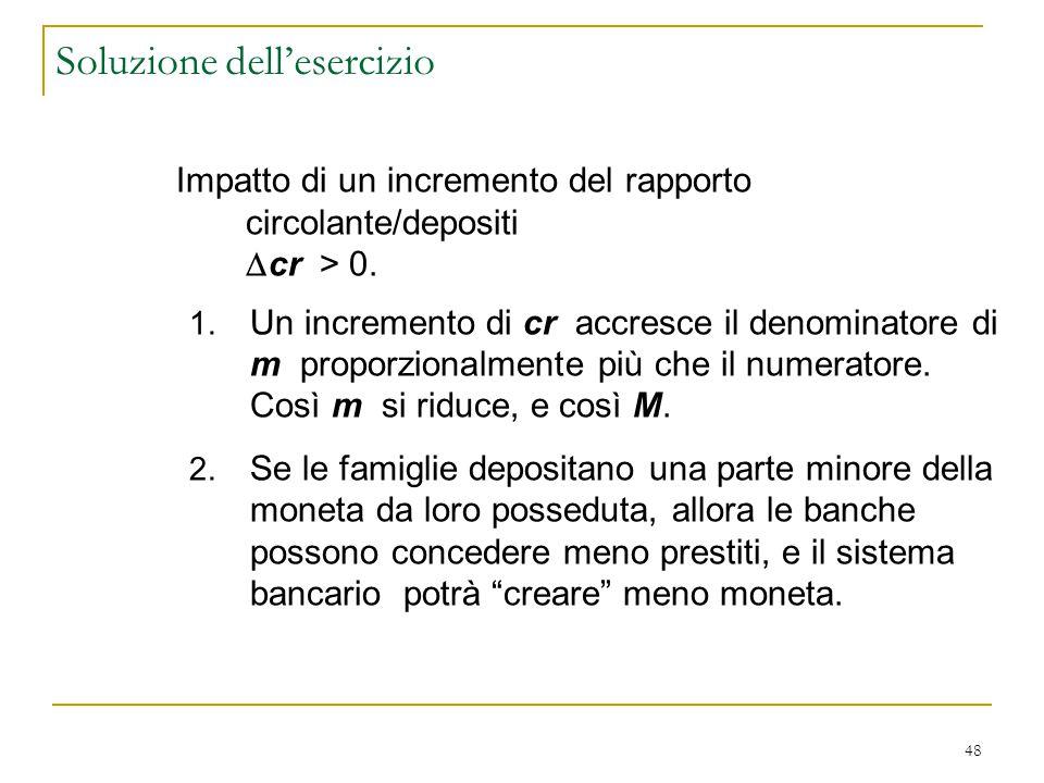 48 Soluzione dell'esercizio Impatto di un incremento del rapporto circolante/depositi  cr > 0. 1. Un incremento di cr accresce il denominatore di m p