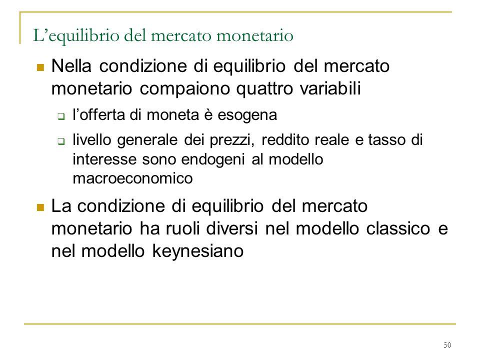 50 L'equilibrio del mercato monetario Nella condizione di equilibrio del mercato monetario compaiono quattro variabili  l'offerta di moneta è esogena
