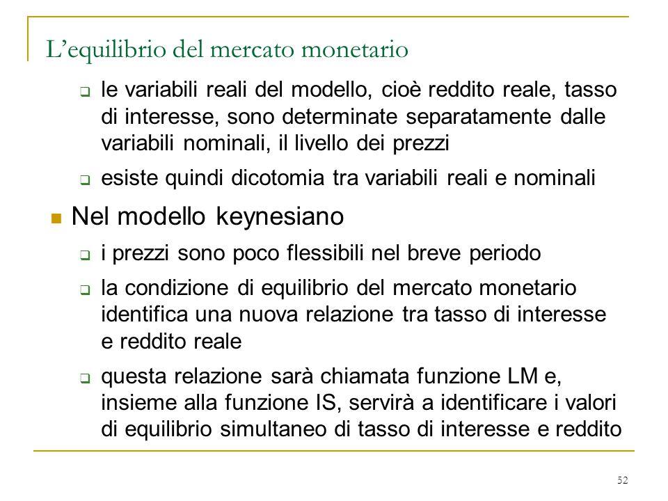 52 L'equilibrio del mercato monetario  le variabili reali del modello, cioè reddito reale, tasso di interesse, sono determinate separatamente dalle v