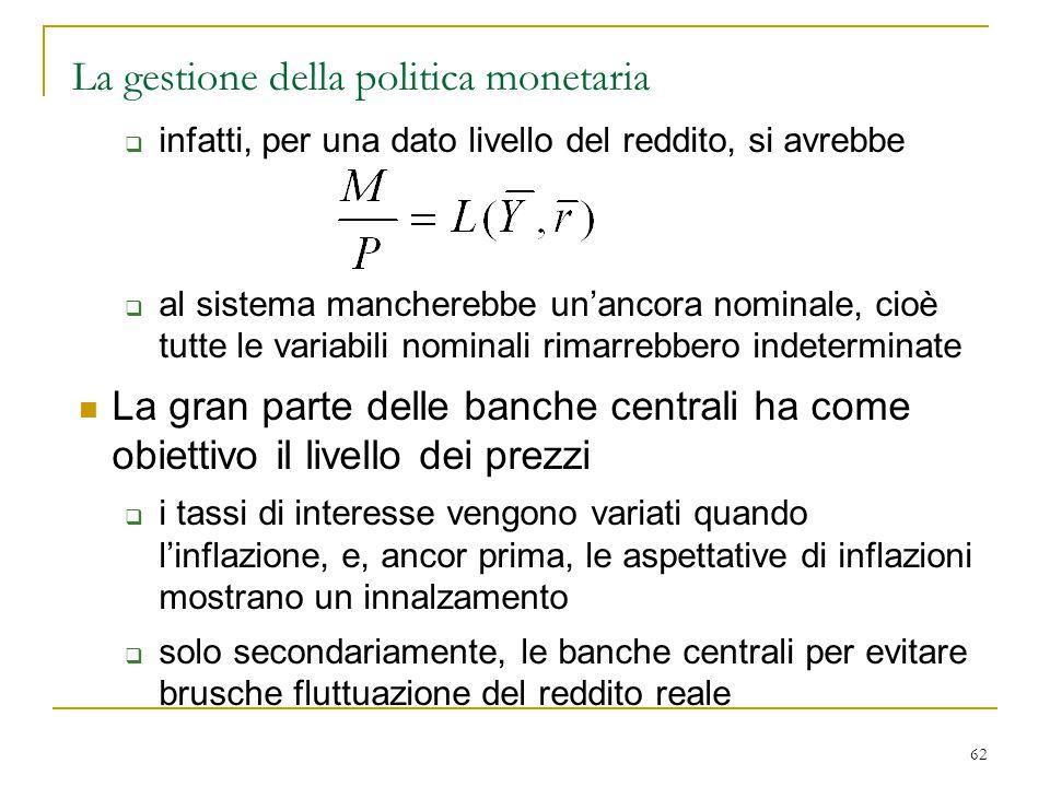 62 La gestione della politica monetaria  infatti, per una dato livello del reddito, si avrebbe  al sistema mancherebbe un'ancora nominale, cioè tutt