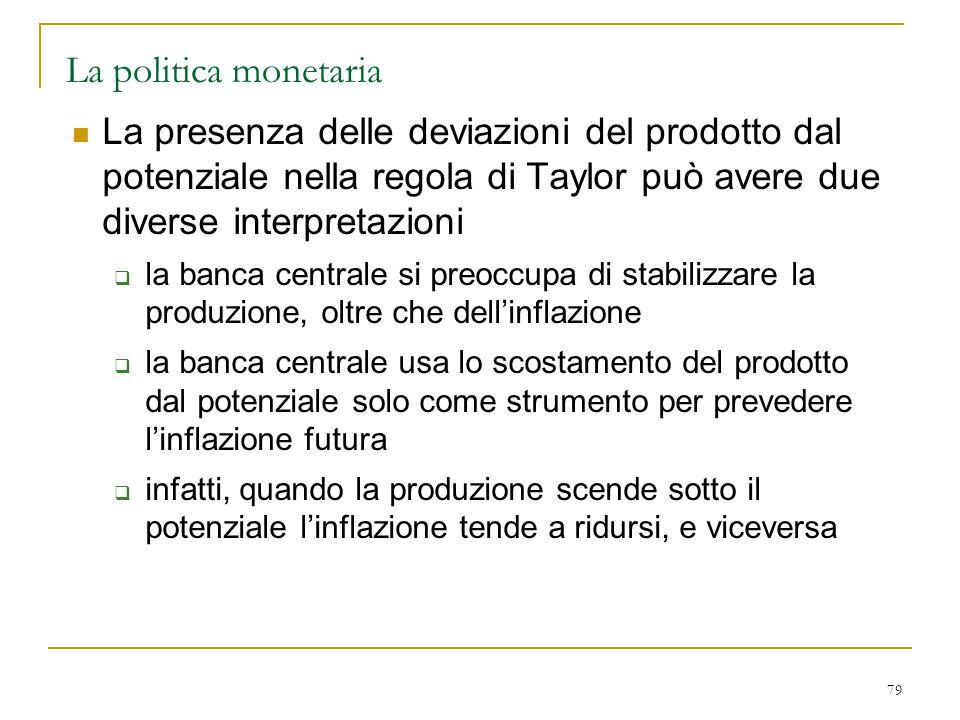 79 La politica monetaria La presenza delle deviazioni del prodotto dal potenziale nella regola di Taylor può avere due diverse interpretazioni  la ba