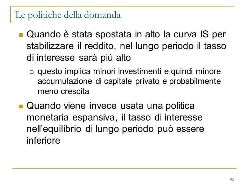 83 Le politiche della domanda Quando è stata spostata in alto la curva IS per stabilizzare il reddito, nel lungo periodo il tasso di interesse sarà pi