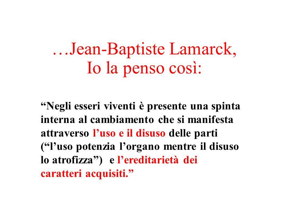 """…Jean-Baptiste Lamarck, Io la penso così: """"Negli esseri viventi è presente una spinta interna al cambiamento che si manifesta attraverso l'uso e il di"""
