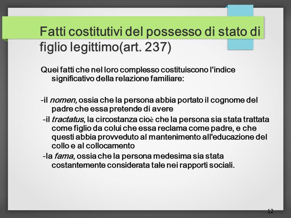 12 Fatti costitutivi del possesso di stato di figlio legittimo(art.