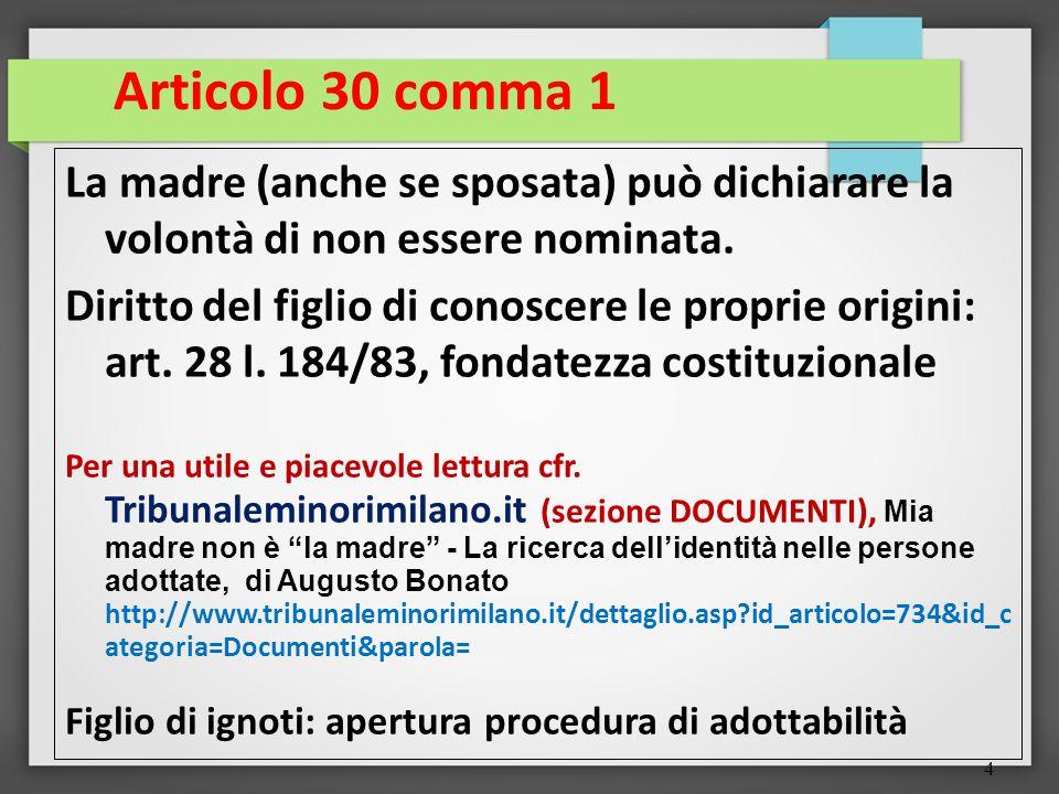 4 Articolo 30 comma 1 La madre (anche se sposata) può dichiarare la volontà di non essere nominata.