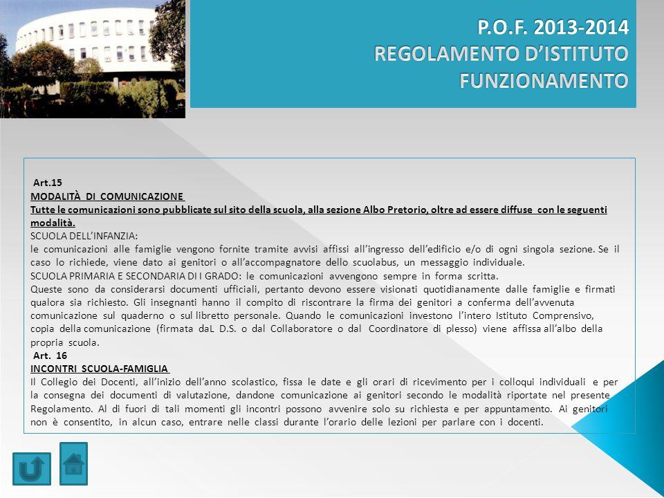 Art.15 MODALITÀ DI COMUNICAZIONE Tutte le comunicazioni sono pubblicate sul sito della scuola, alla sezione Albo Pretorio, oltre ad essere diffuse con le seguenti modalità.