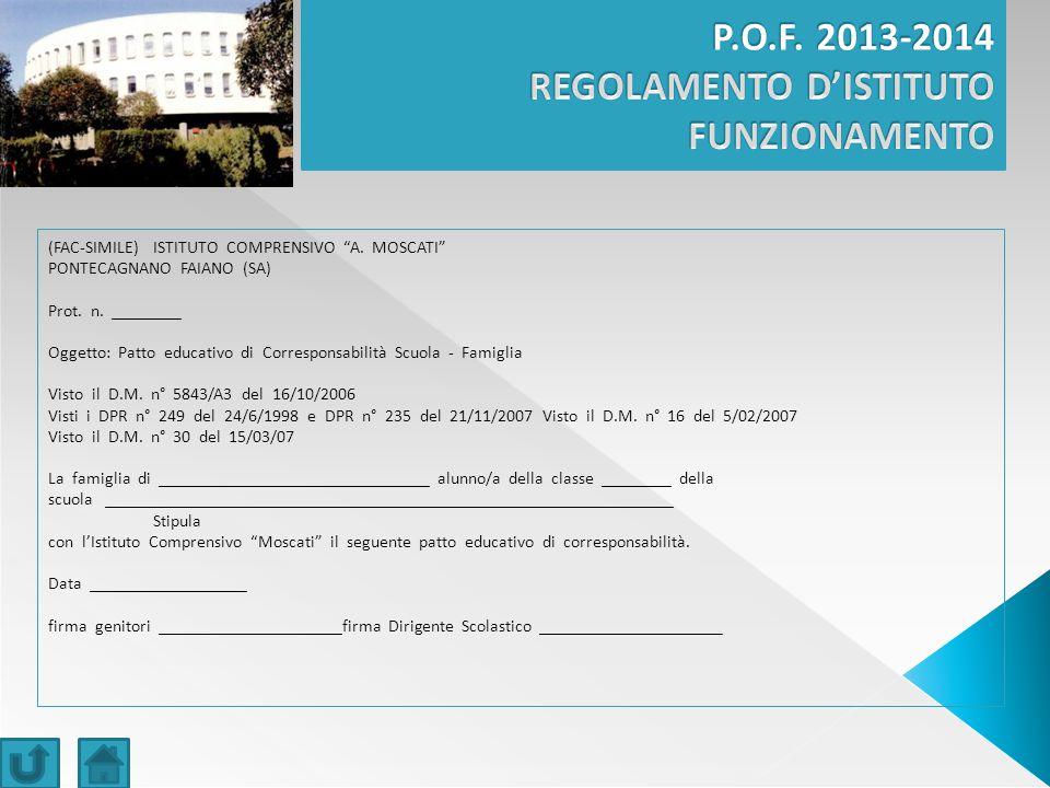 (FAC‐SIMILE) ISTITUTO COMPRENSIVO A.MOSCATI PONTECAGNANO FAIANO (SA) Prot.