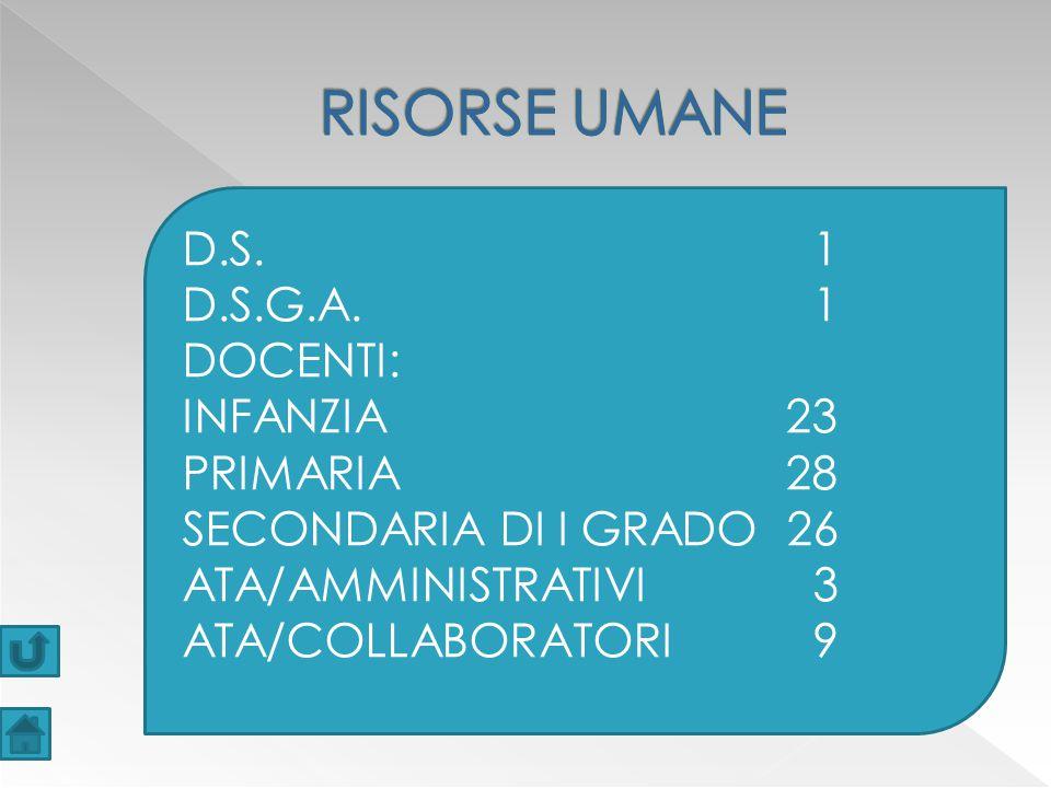 D.S.1 D.S.G.A.1 DOCENTI: INFANZIA 23 PRIMARIA 28 SECONDARIA DI I GRADO 26 ATA/AMMINISTRATIVI3 ATA/COLLABORATORI9