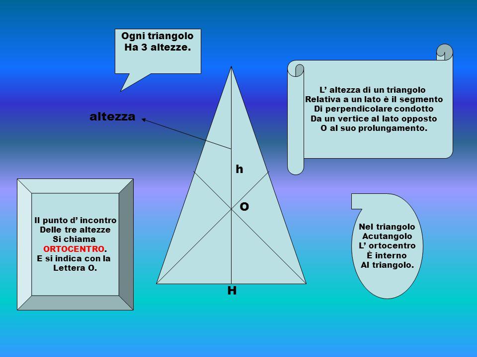 H h altezza L' altezza di un triangolo Relativa a un lato è il segmento Di perpendicolare condotto Da un vertice al lato opposto O al suo prolungament