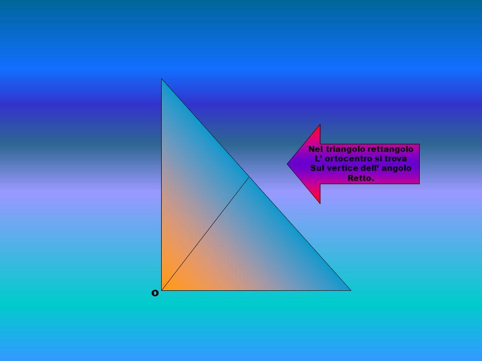 o Nel triangolo rettangolo L' ortocentro si trova Sul vertice dell' angolo Retto.