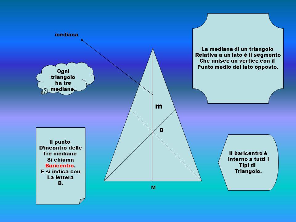 La mediana di un triangolo Relativa a un lato è il segmento Che unisce un vertice con il Punto medio del lato opposto. m M mediana Ogni triangolo ha t
