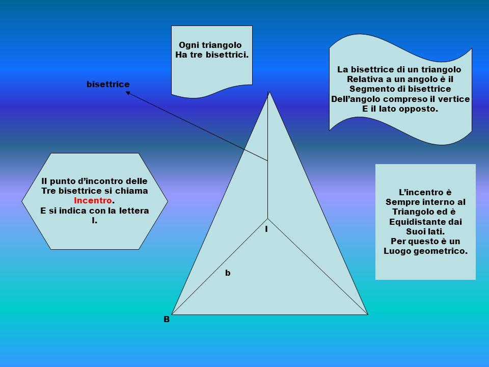 I b B bisettrice La bisettrice di un triangolo Relativa a un angolo è il Segmento di bisettrice Dell'angolo compreso il vertice E il lato opposto. Il