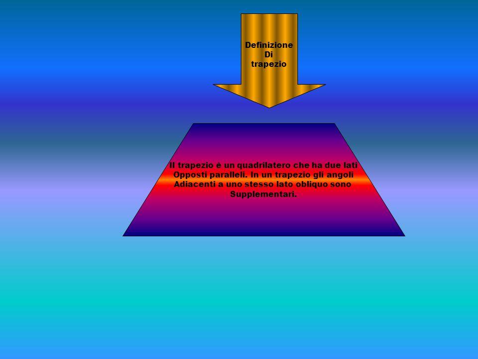 Il trapezio è un quadrilatero che ha due lati Opposti paralleli. In un trapezio gli angoli Adiacenti a uno stesso lato obliquo sono Supplementari. Def