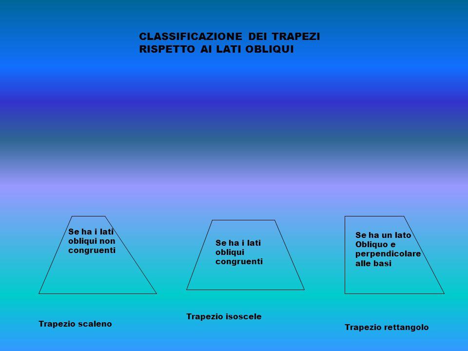 CLASSIFICAZIONE DEI TRAPEZI RISPETTO AI LATI OBLIQUI Trapezio scaleno Se ha i lati obliqui non congruenti Trapezio isoscele Se ha i lati obliqui congr