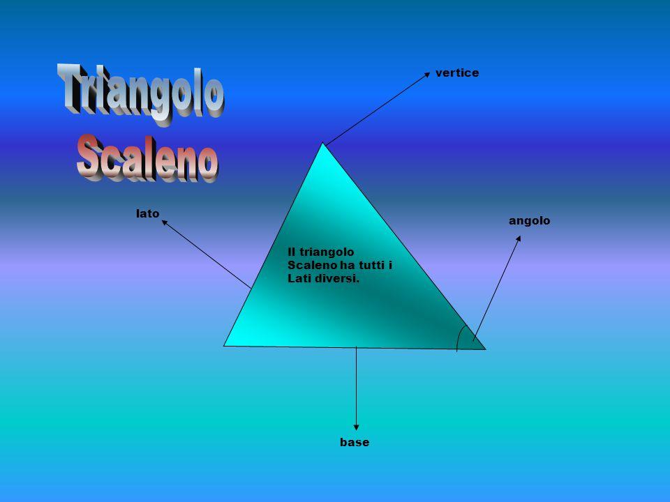 vertice lato base angolo Il triangolo Scaleno ha tutti i Lati diversi.