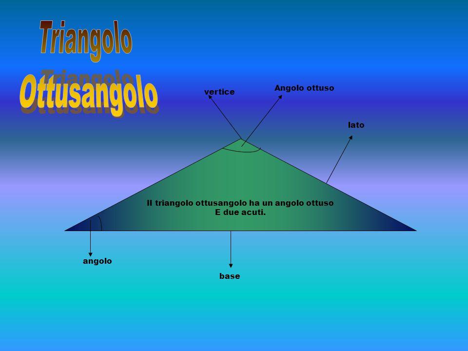 Il triangolo ottusangolo ha un angolo ottuso E due acuti. vertice angolo base lato Angolo ottuso