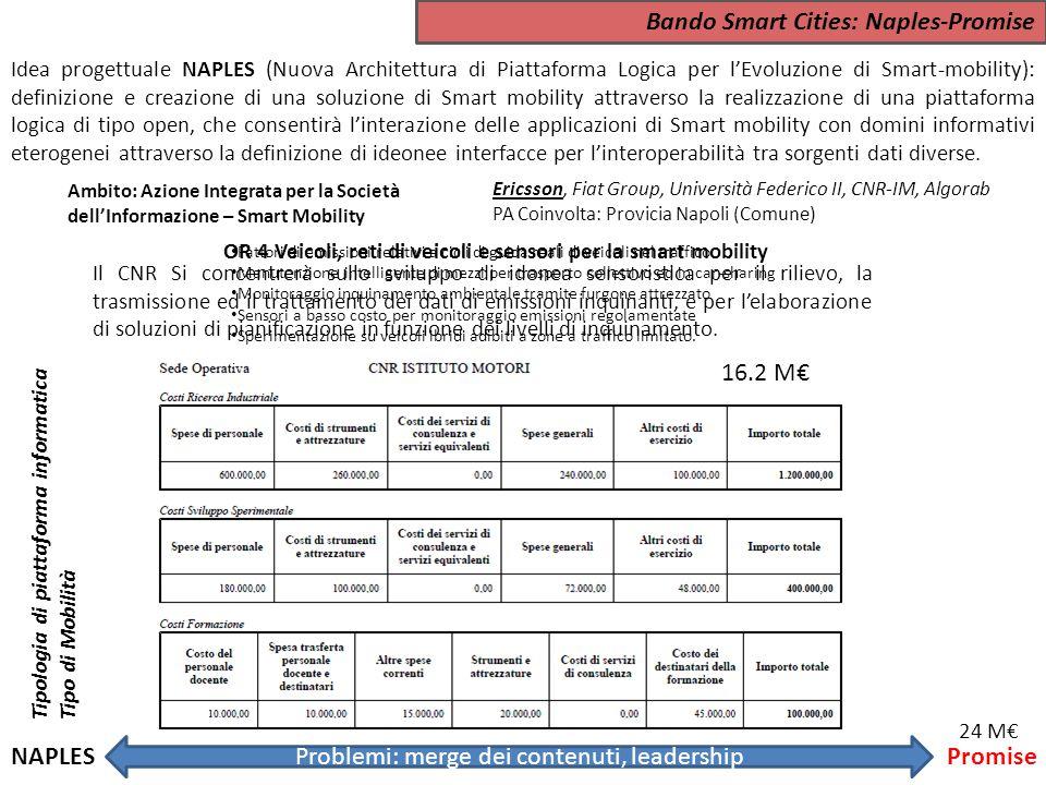 Bando Smart Cities: Naples-Promise Idea progettuale NAPLES (Nuova Architettura di Piattaforma Logica per l'Evoluzione di Smart-mobility): definizione