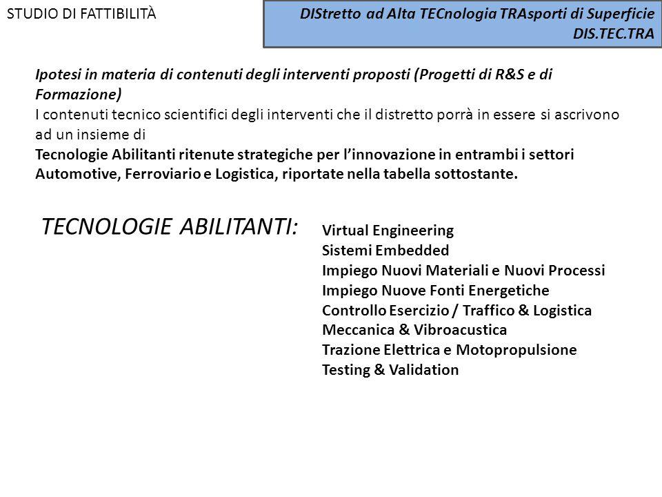 Ipotesi in materia di contenuti degli interventi proposti (Progetti di R&S e di Formazione) I contenuti tecnico scientifici degli interventi che il di