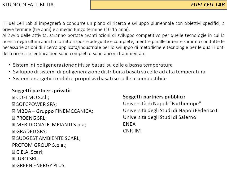 Soggetti partners privati:  COELMO S.r.l.;  SOFCPOWER SPA;  MBDA – Gruppo FINEMCCANICA;  PROENG SRL;  MERIDIONALE IMPIANTI S.p.a;  GRADED SPA; 