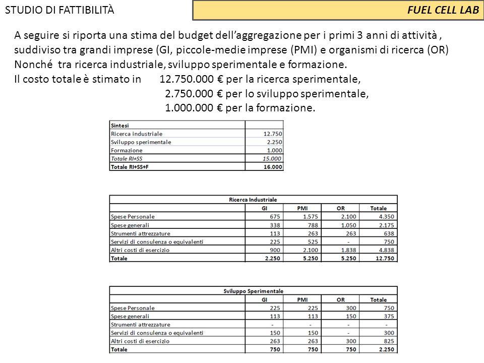 A seguire si riporta una stima del budget dell'aggregazione per i primi 3 anni di attività, suddiviso tra grandi imprese (GI, piccole‐medie imprese (P