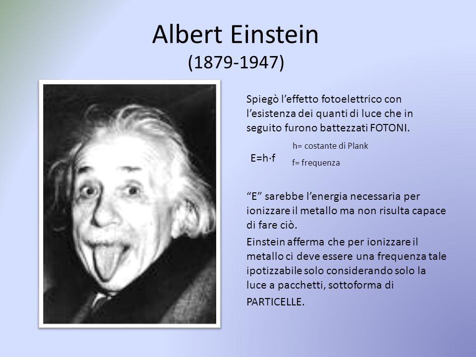 Albert Einstein (1879-1947) Spiegò l'effetto fotoelettrico con l'esistenza dei quanti di luce che in seguito furono battezzati FOTONI. h= costante di