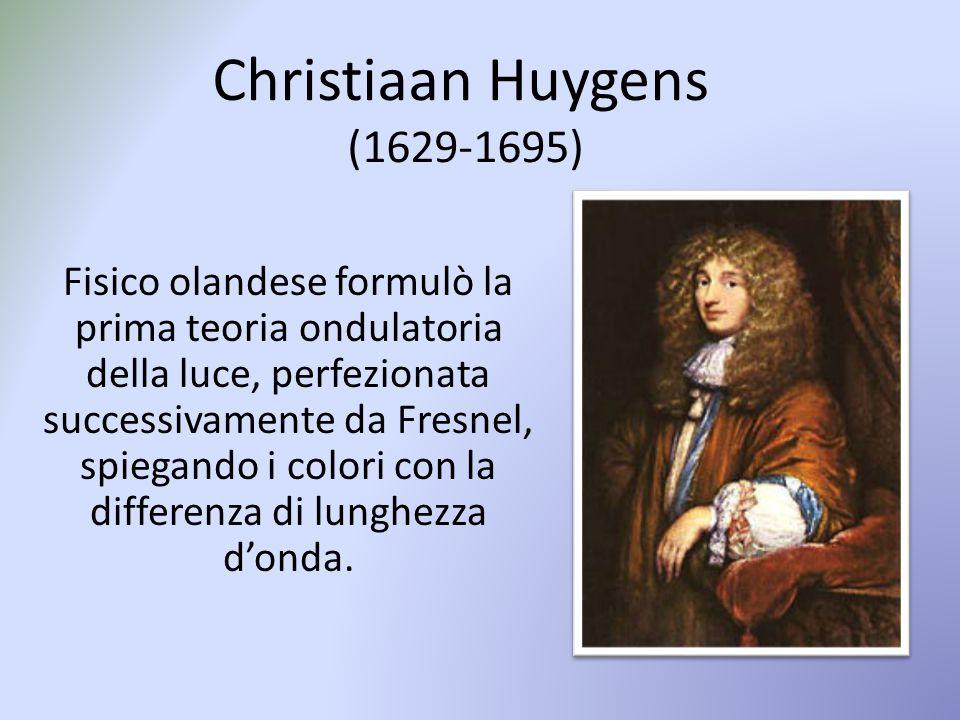 Christiaan Huygens (1629-1695) Fisico olandese formulò la prima teoria ondulatoria della luce, perfezionata successivamente da Fresnel, spiegando i colori con la differenza di lunghezza d'onda.