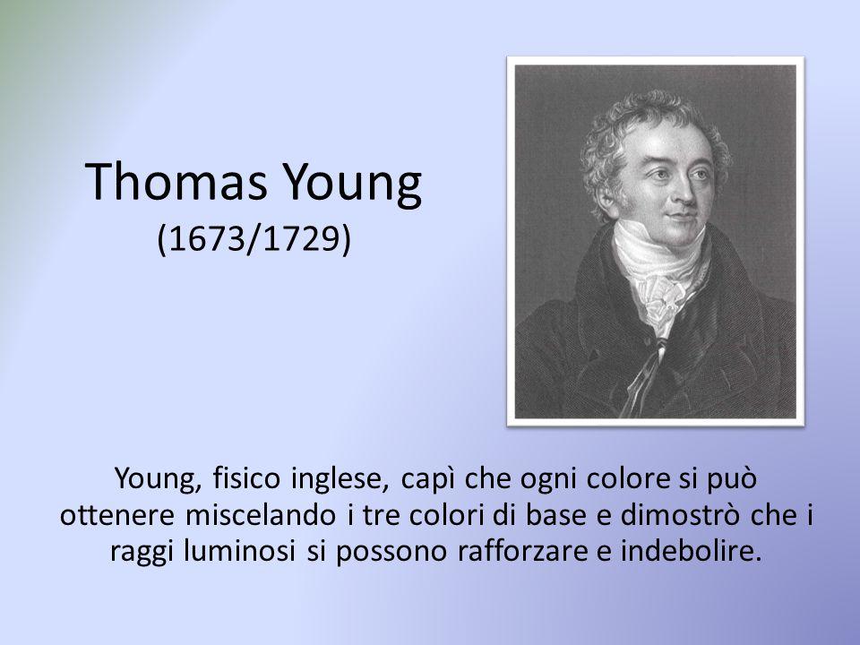 Thomas Young (1673/1729) Young, fisico inglese, capì che ogni colore si può ottenere miscelando i tre colori di base e dimostrò che i raggi luminosi si possono rafforzare e indebolire.