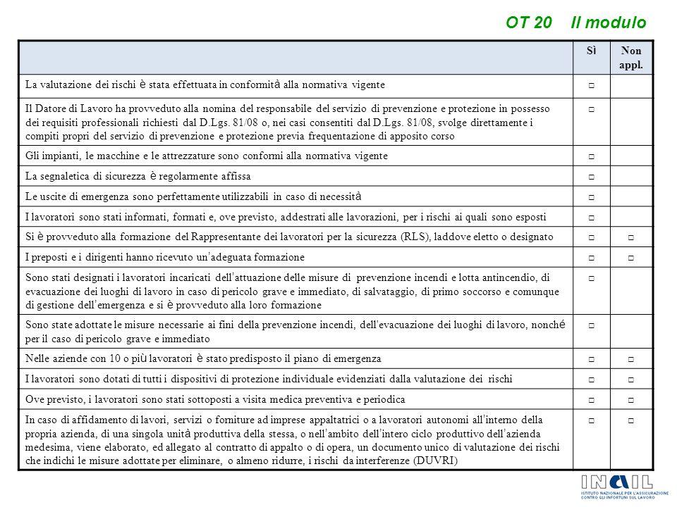OT 20 Il modulo SìSì Non appl. La valutazione dei rischi è stata effettuata in conformit à alla normativa vigente □ Il Datore di Lavoro ha provveduto