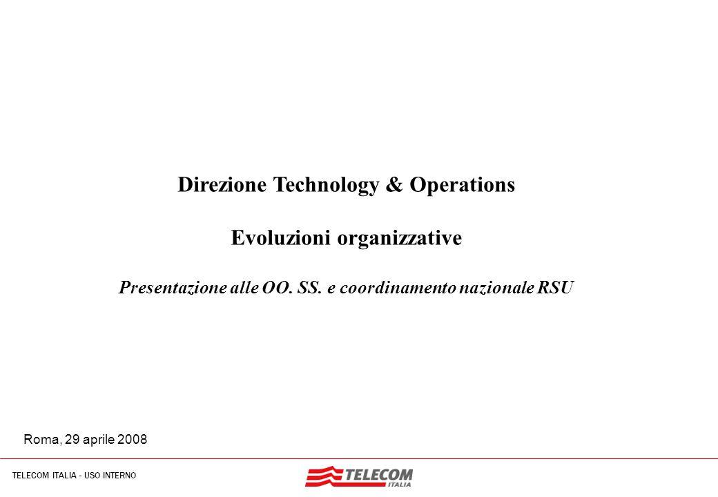 1 TELECOM ITALIA - USO INTERNO MIL-SIB080-30112006-35593/NG Driver nuovo assetto organizzativo Principali Aree di Intervento: Costituzione di presidi organizzativi dedicati ai processi di sviluppo/gestione delle componenti proprie della access network e della core network , al fine di focalizzare le specifiche esigenze ed opportunità di carattere tecnologico, operativo e regolatorio Ricomposizione in logica E2E dell'intera filiera dei processi di Information Technology, al fine di ridurre i costi e gli investimenti legati allo sviluppo/esercizio delle applicazioni e di incrementare i livelli di servizio migliorando il time to market e la stabilizzazione dei prodotti/servizi proposti al mercato Ricomposizione delle attività di presidio delle infrastrutture tecniche (immobiliari ed impiantistiche), al fine di massimizzare la coerenza delle strategie di intervento con le necessità/opportunità di business, rendendo possibile una significativa riduzione degli spazi occupati in relazione allo sviluppo delle tecnologie/architetture di rete Costituzione di un sistema organizzativo per il presidio integrato delle infrastrutture e delle piattaforme tecnologiche del gruppo nell'ottica di Assicurare un miglioramento significativo della quality of service, Governare in modo più efficace il processo di innovazione tecnologica per lo sviluppo ed il lancio di nuovi servizi a valore aggiunto, Garantire la coerenza delle architetture e delle soluzioni tecnologiche con lo sviluppo ed il presidio del mercato, Favorire l'ottimizzazione dello spending relativo allo sviluppo tecnologico ed all'espletamento dei processi operativi,