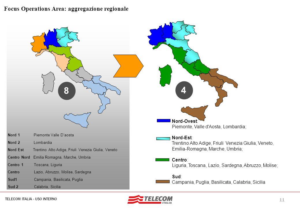 11 TELECOM ITALIA - USO INTERNO MIL-SIB080-30112006-35593/NG 4 Nord-Ovest: Piemonte, Valle d'Aosta, Lombardia; Nord-Est: Trentino Alto Adige, Friuli V