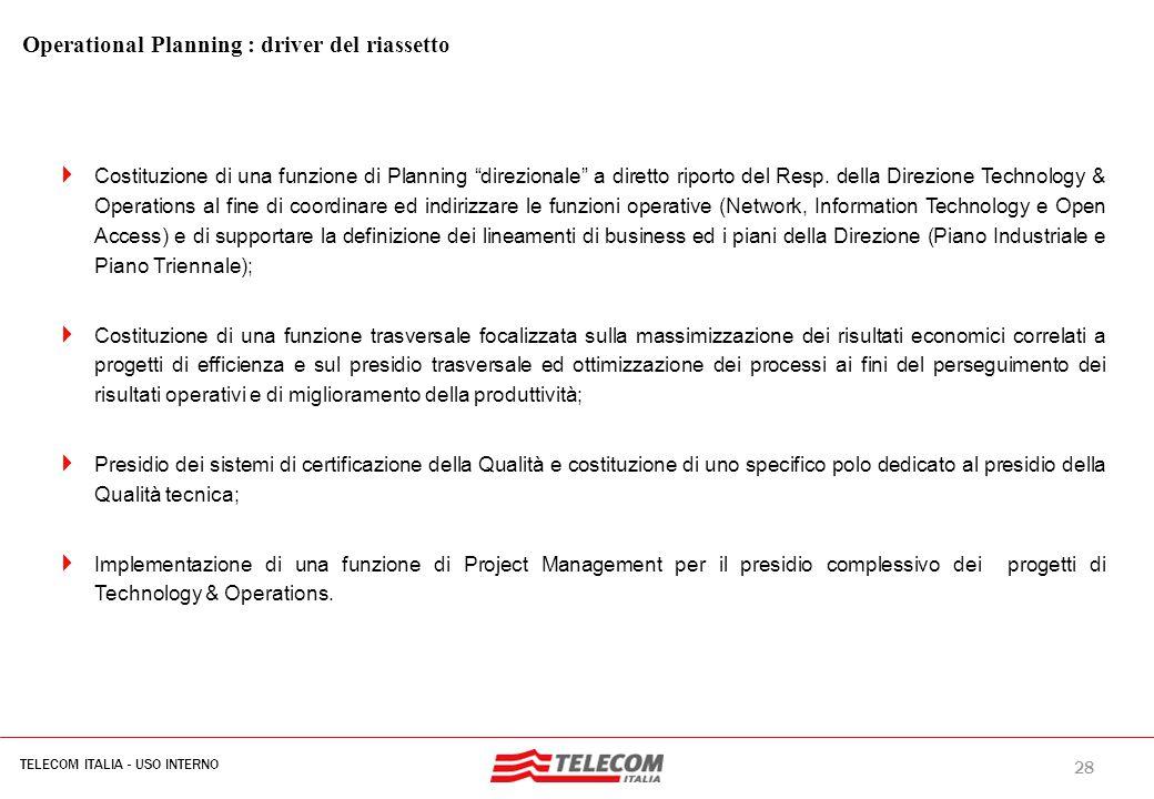 """28 TELECOM ITALIA - USO INTERNO MIL-SIB080-30112006-35593/NG Operational Planning : driver del riassetto  Costituzione di una funzione di Planning """"d"""